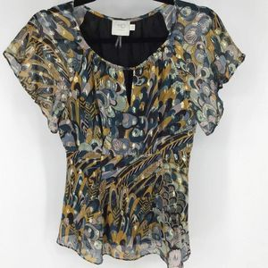 Anthropologie silk gold floral career print blouse